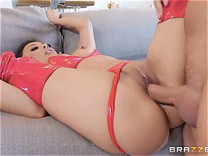 uber-sexy Kaylani Lei in red leathers