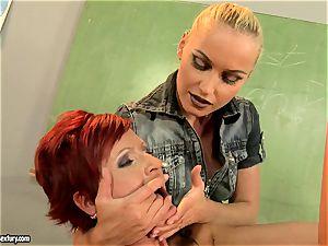 Kathia Nobili dildoing the throat of a scorching honey