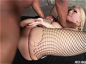 puny blond smashed in the booty by enormous ebony dick