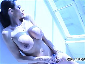 Ariella Ferrera Glass fuck stick Blue Light