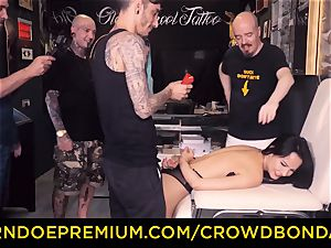 CROWD restrain bondage - bondage & discipline very first time experience for latina