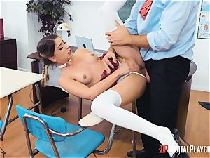 Its Kristen Scotts turn to get her bum bashed in assfuck class