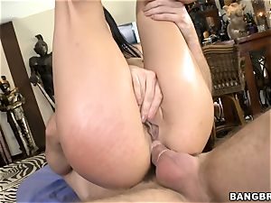 Eva Angelina jams her vagina with a faux-cock while getting banged in the rump