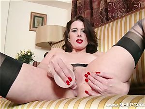 cougar unclothes off retro lingerie toys pearl in nylon heels