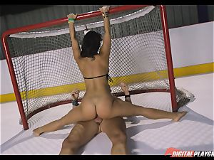 horny dark haired Eva Lovia screwed deep in her labia pie at the ice rink
