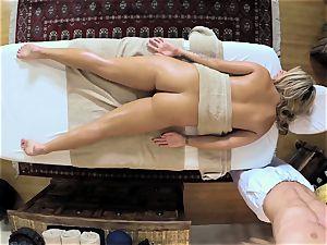 steamy platinum-blonde Madelyn Monroe stuffed in her wet snatch