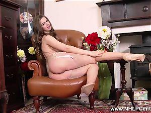 Stella plays with giant knockers beaver in retro nylon underwear