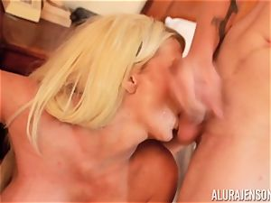 man-meat deep throating mischievous three-way Alura Jenson and dude gives a helping mitt
