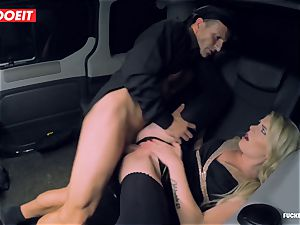 super-steamy Czech honey penetrates the Driver to comeback her Luggage