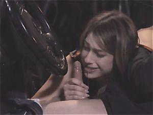 Camgirl part two - ultra-cute Kristen Scott sucking in the car