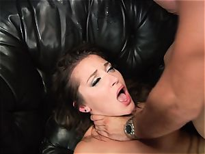 Dani Daniels gets splooged with yam-sized manmeat testicle tonic