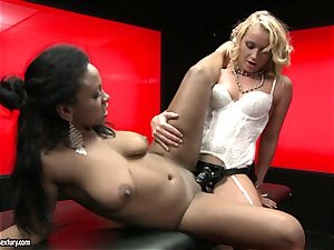 tough Kathia Nobili shoves her strap on cock deep down her counterpart hatch