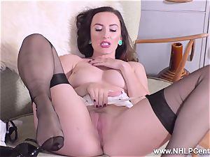 brown-haired taunts in nylons heels unwraps for you to masturbate