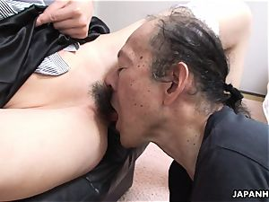 aged stud is munching that humid hairy nubile pussy up