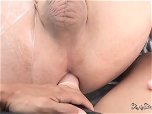Dana mistreats her stud with a phat dildo