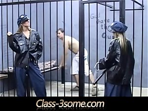 2 horny nymph guards screw a magnificent jail