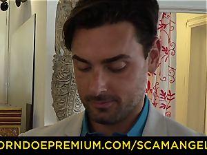 SCAM ANGELS - yankee honies pummel nail stud in sizzling FFM