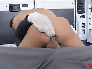 Christiana Cinn roped up in a van and assfucked