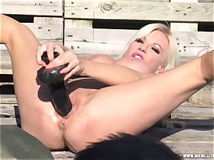 blond whore strokes with hefty toy urinating and face sitting