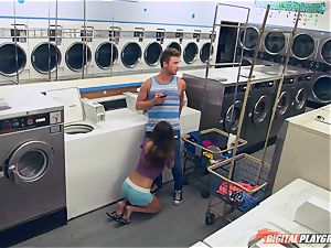 Dillion Harper romped in a laundry basket