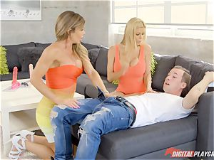 handed out stud gets his hard-on deep throated by scorching mummies Alexis Fawx and Nina Dolci