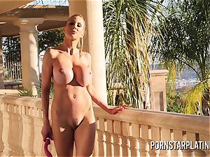 humungous tit platinum-blonde Puma Swede milks on the balcony