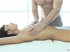 French delectation Anissa Kate ravaged on massage table
