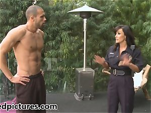 big-boobed cop Lisa Ann gives out her spear punishment