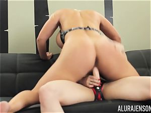 Alura Jenson honeypot packed with strap on dildo intense muscled nymph Brandi May