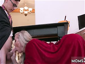 ash-blonde fucked stiff very first time Halloween off the hook With A threesome