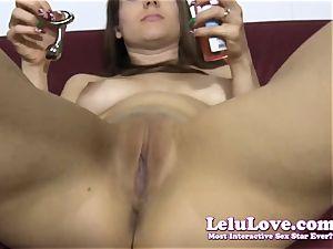 She strips down then lubricates up her bulls eye..