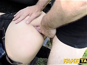 fake cab Fetish princess in ebony leather ass fucking creampie