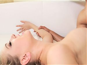 Kagney Linn Karter plumbed in the backside doggystyle by humungous oiled up man meat