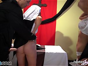 crazy nuns Jessica Jaymes and Nikki Benz pleasuring gods cravings